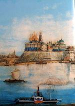 Городище Стрелка (место основания Ярославля) на картине Сабанева (1878)