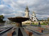село Буки - фонтан с Майдана и церковь св.Евгения