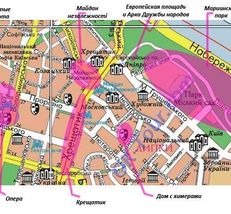 достопримечательности Киева на карте | часть 1