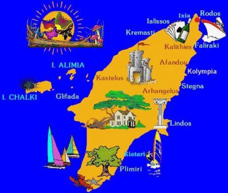 карта Родоса схематическая