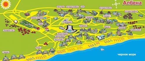 карта курорта Албена