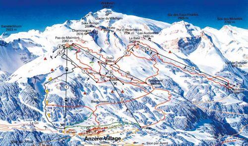 карта горнолыжных трасс Анзера (Швейцария)