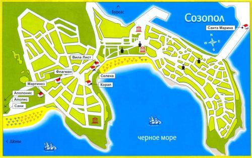 Карта курорта Созополь