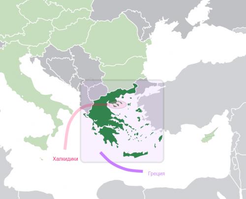 Халкидики на карте Греции