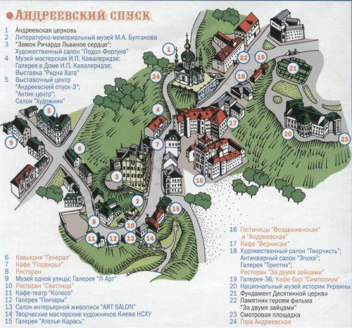 Карта улицы Андреевский спуск
