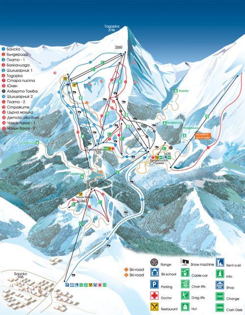 Схема горнолыжных трасс Банско
