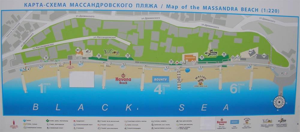 схема Массандровского пляжа