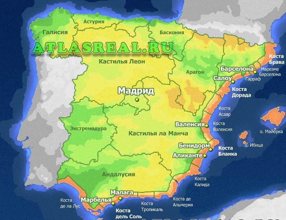 карта курортов Испании на